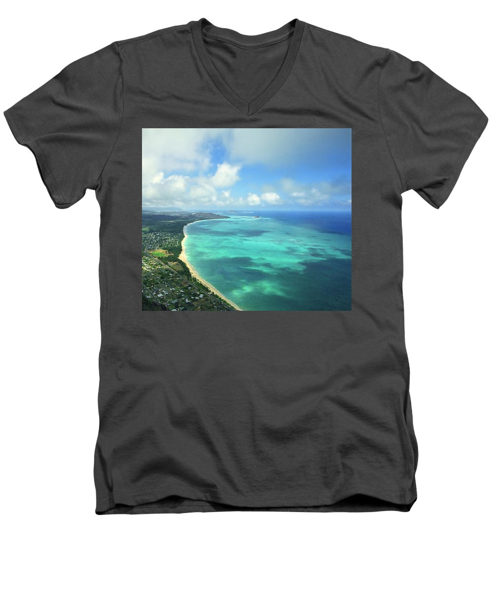 Waimanalo Men's V-Neck T-Shirt featuring the photograph Waimanalo Bay by Kevin Smith
