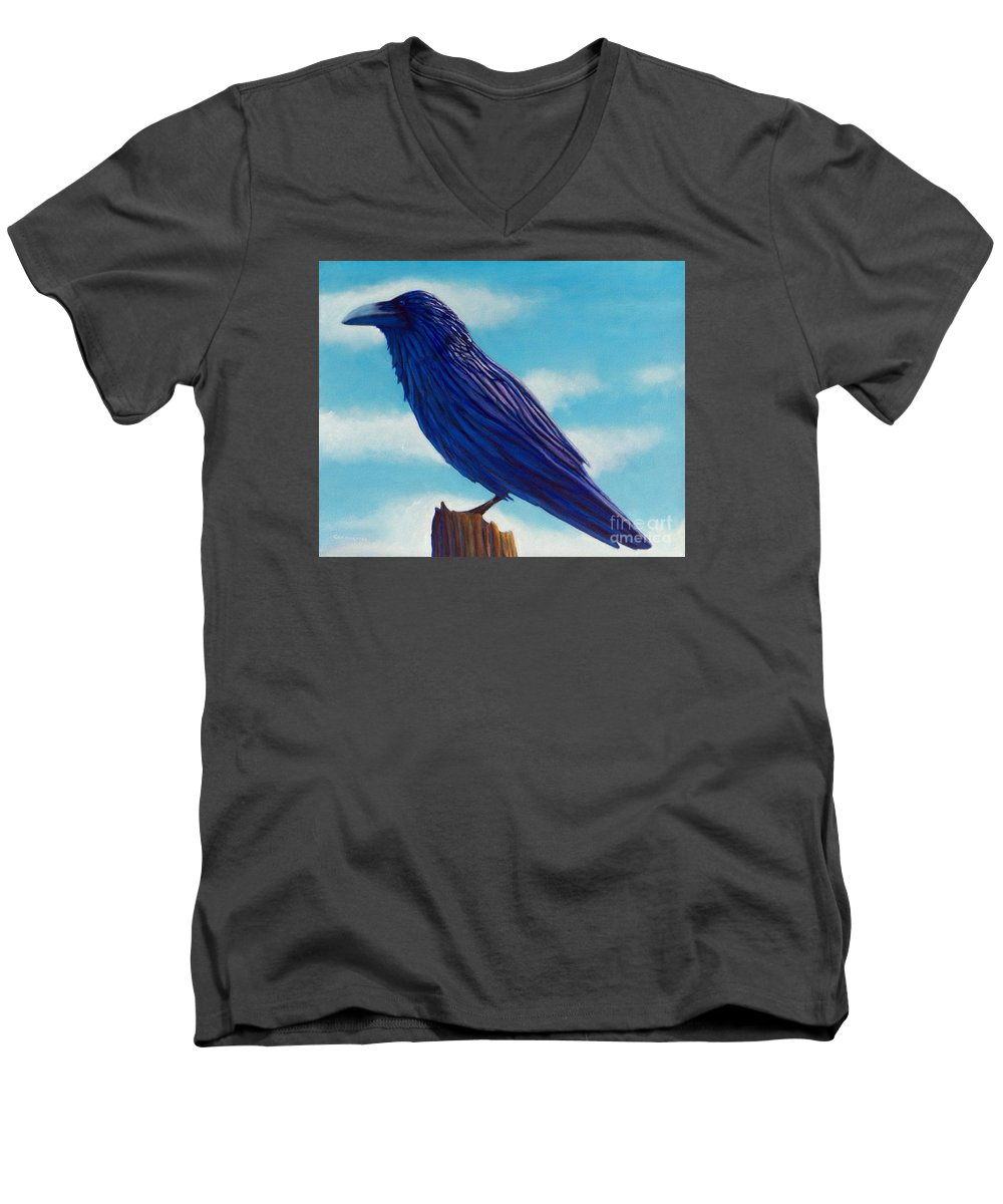 Raven Men's V-Neck T-Shirt featuring the painting Waiting by Brian Commerford