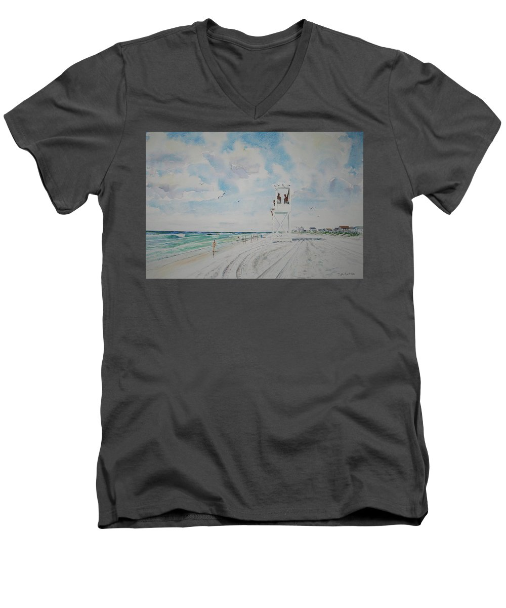 Ocean Men's V-Neck T-Shirt featuring the painting Waiting For The Lifeguard by Tom Harris