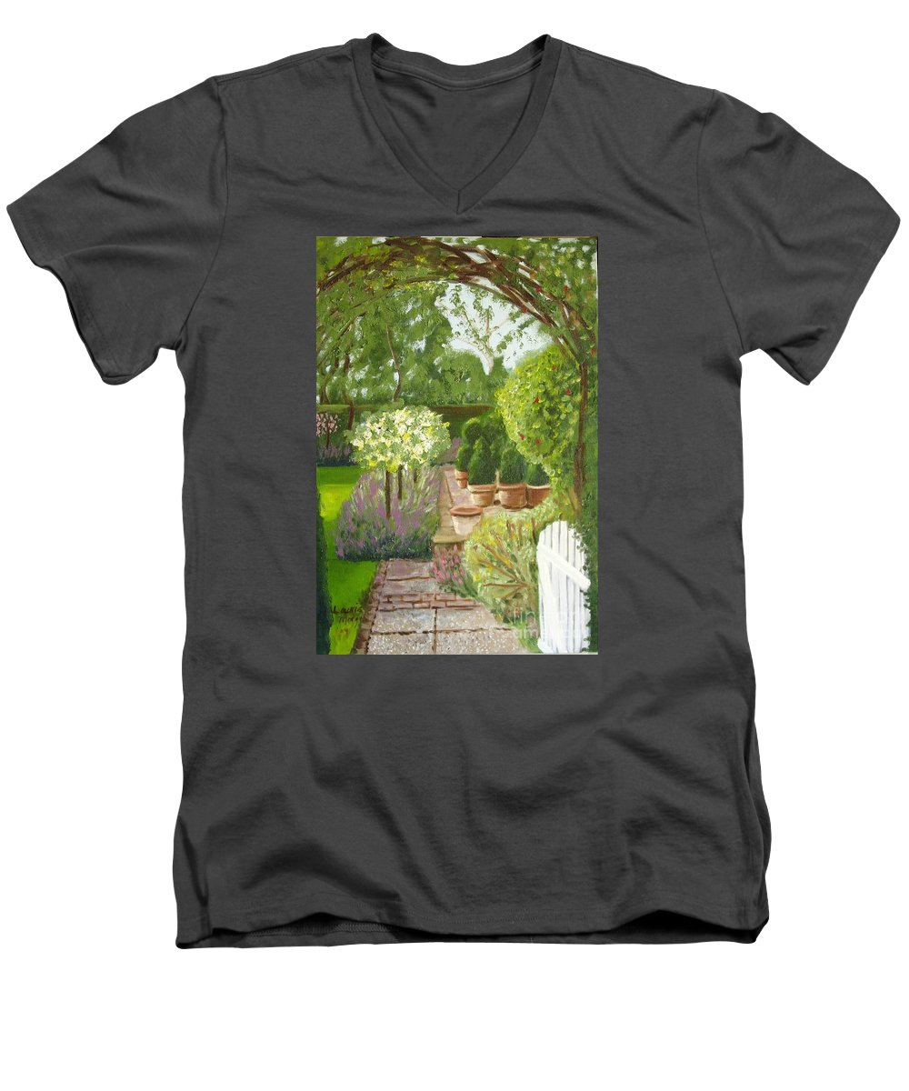 Garden Men's V-Neck T-Shirt featuring the painting Walk With Me by Laurie Morgan