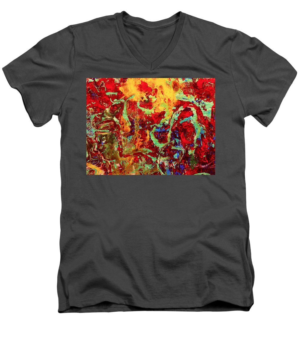 Abstract Men's V-Neck T-Shirt featuring the painting Walking In The Garden by Natalie Holland