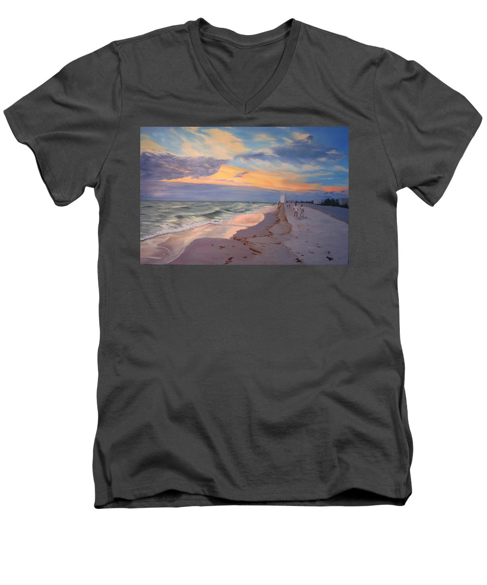 Seascape Men's V-Neck T-Shirt featuring the painting Walking On The Beach At Sunset by Lea Novak