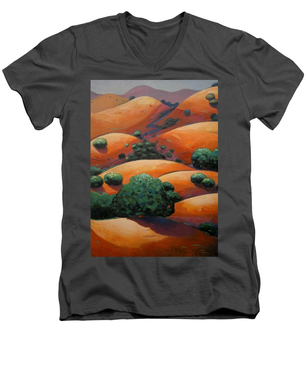 California Landscape Men's V-Neck T-Shirt featuring the painting Warm Afternoon Light On Ca Hillside by Gary Coleman