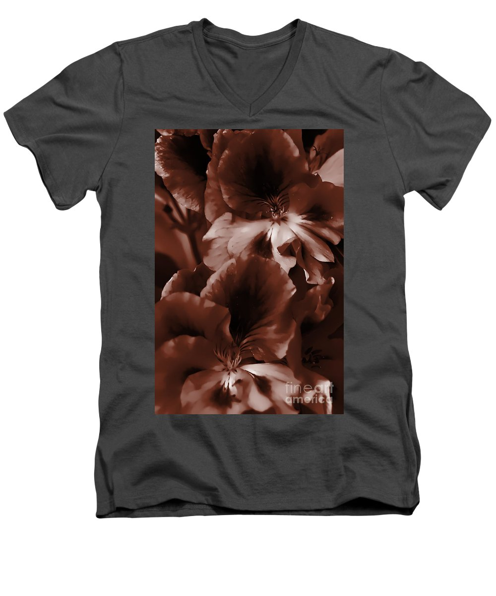 Clay Men's V-Neck T-Shirt featuring the photograph Warm Tone Monochrome Floral Art by Clayton Bruster
