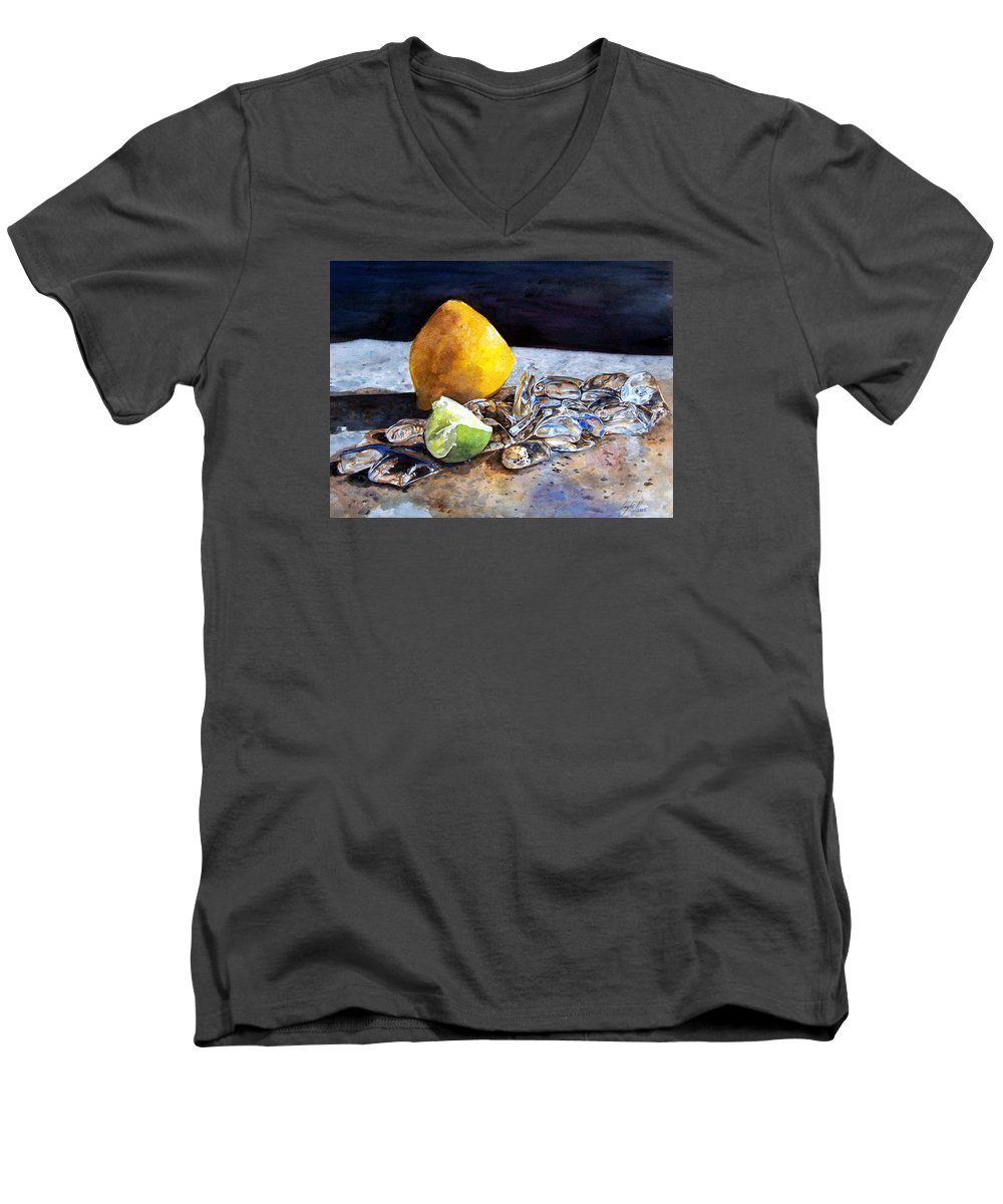 Lemon Men's V-Neck T-Shirt featuring the painting Was... by Leyla Munteanu