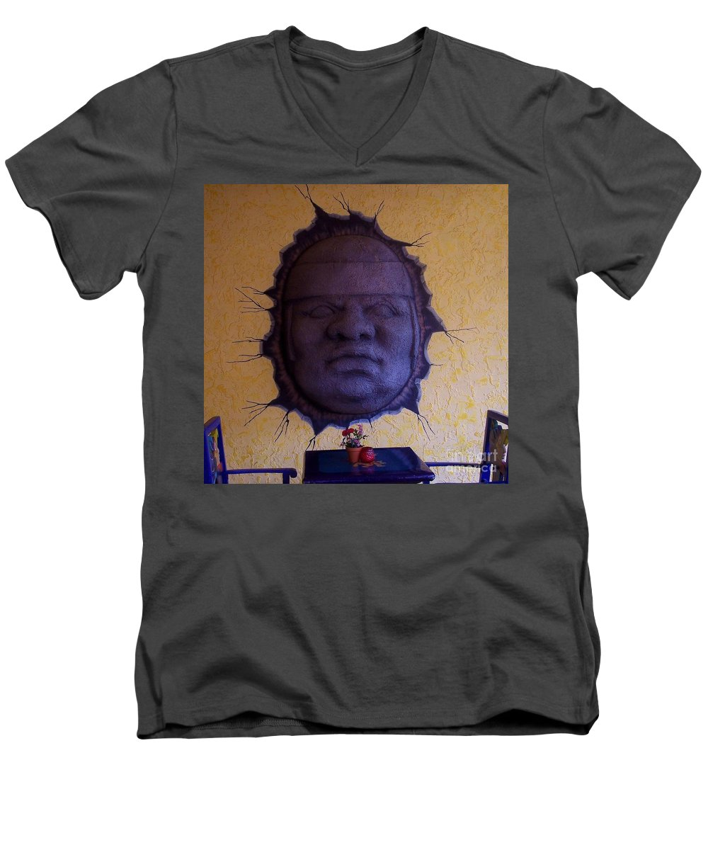 Face Men's V-Neck T-Shirt featuring the photograph Watch What You Eat by Debbi Granruth