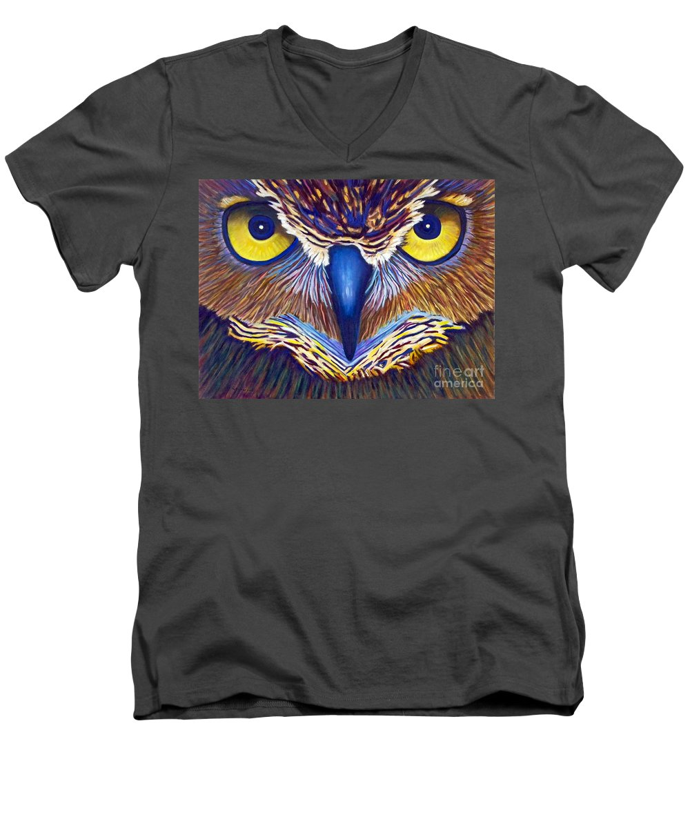 Owl Men's V-Neck T-Shirt featuring the painting Watching by Brian Commerford