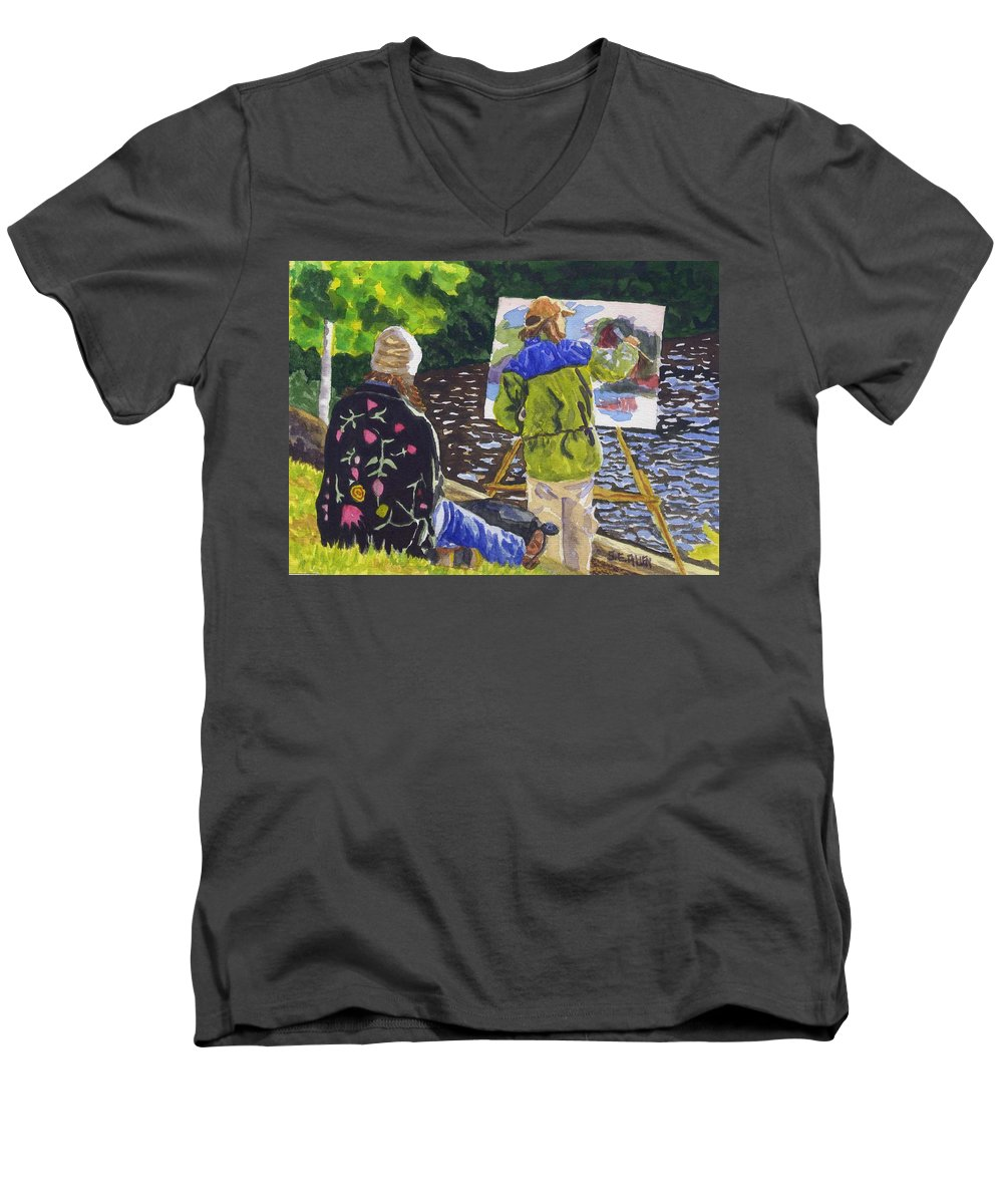 Artist Men's V-Neck T-Shirt featuring the painting Watching The Maestro by Sharon E Allen