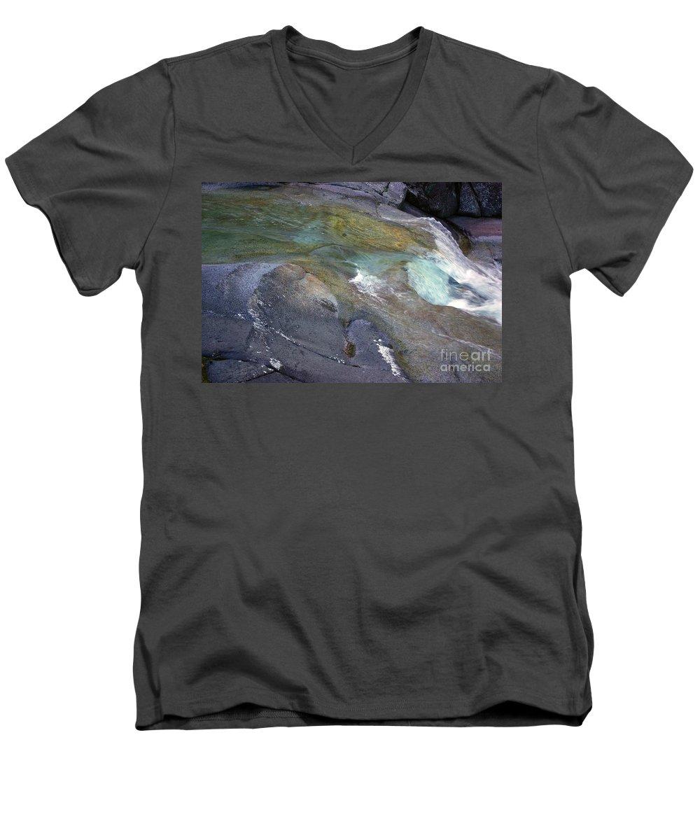 Tropical Men's V-Neck T-Shirt featuring the photograph Water Flow by Kerryn Madsen- Pietsch
