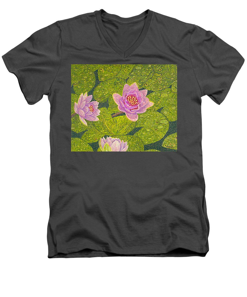 Water Lilies Men's V-Neck T-Shirt featuring the drawing Water Lilies Lily Flowers Lotuses Fine Art Prints Contemporary Modern Art Garden Nature Botanical by Baslee Troutman