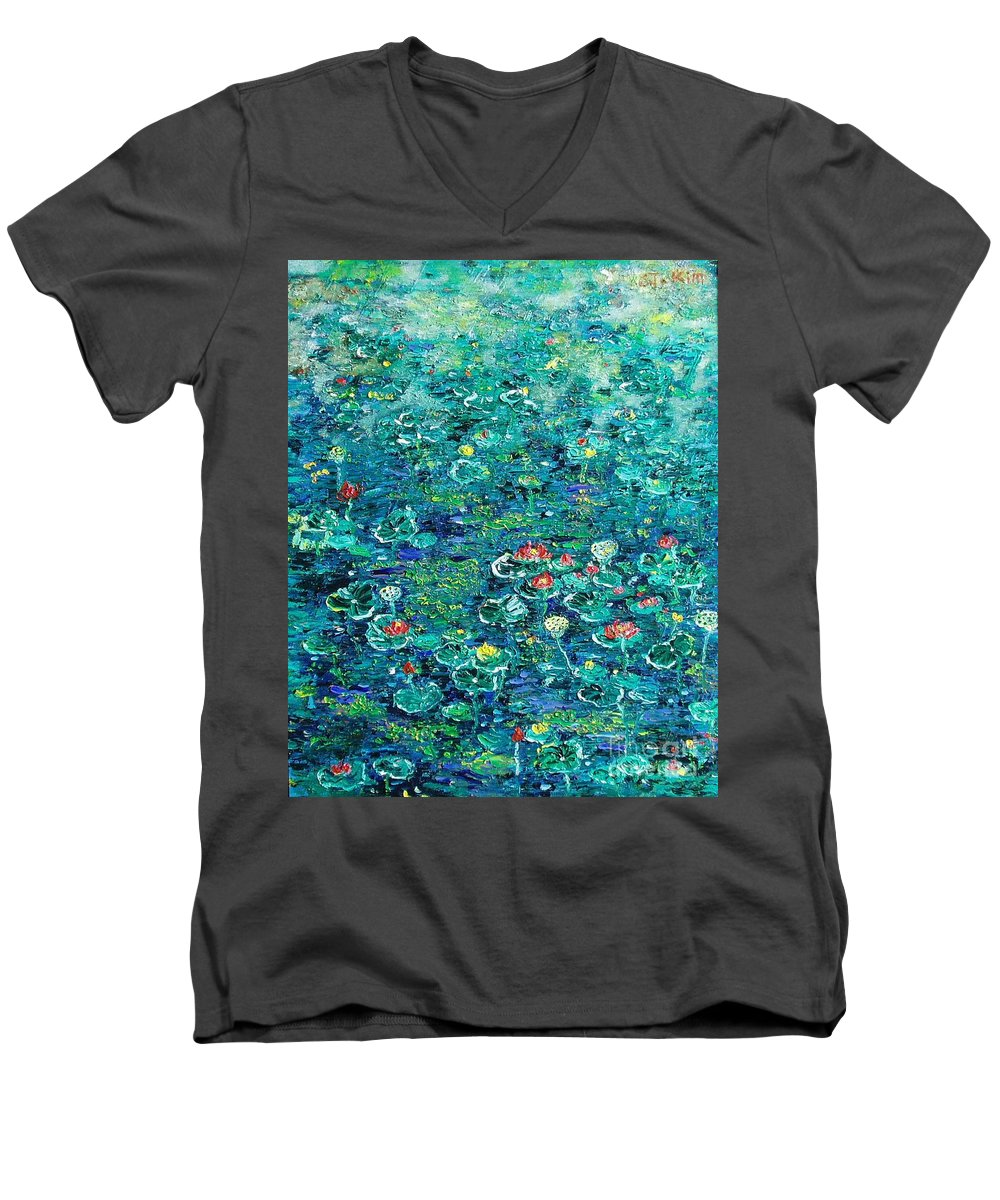 Water Lily Paintings Men's V-Neck T-Shirt featuring the painting Water Lilies Lily Pad Lotus Water Lily Paintings by Seon-Jeong Kim