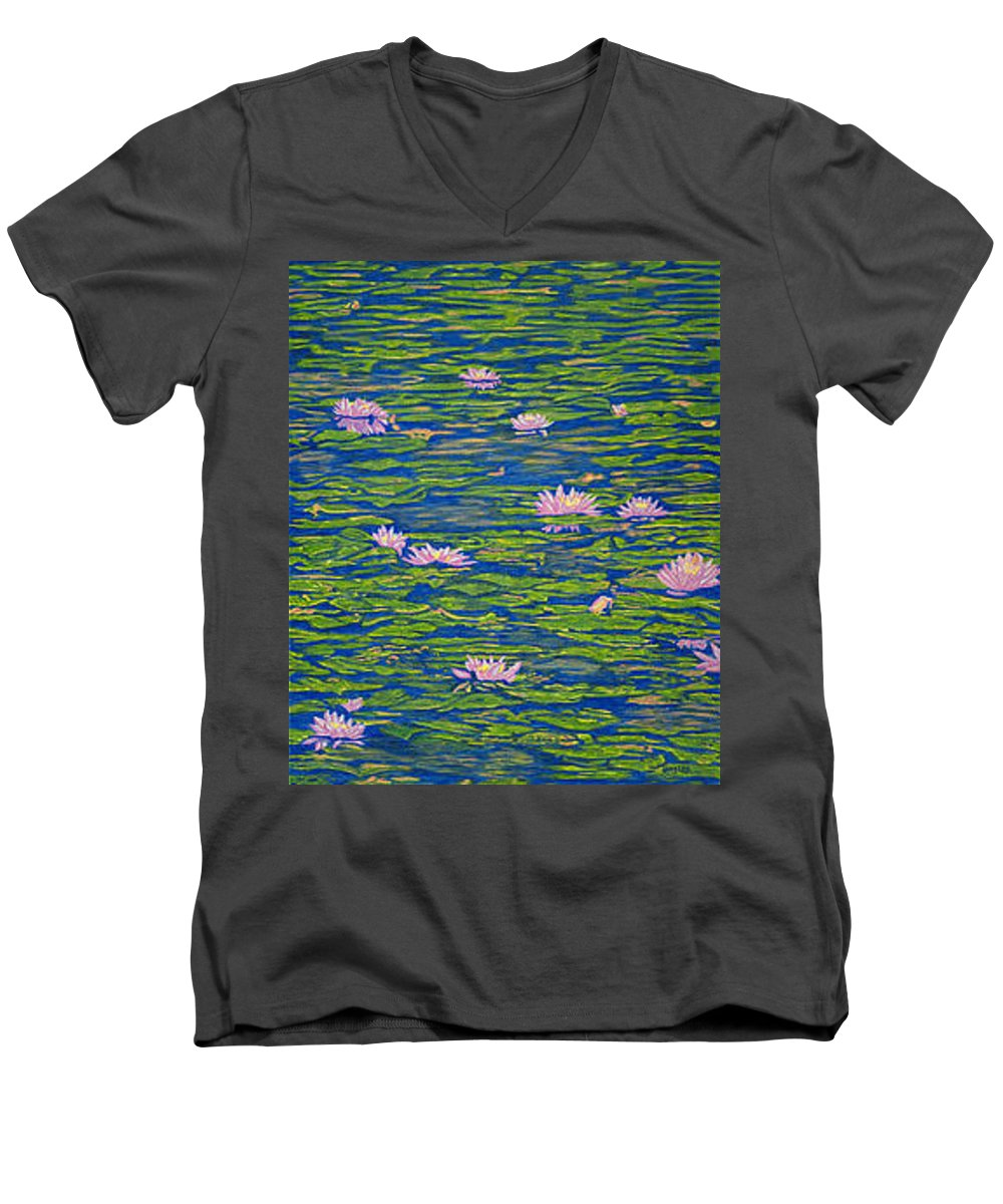 Lotuses Men's V-Neck T-Shirt featuring the drawing Water Lily Flowers Happy Water Lilies Fine Art Prints Giclee High Quality Impressive Color Lotuses by Baslee Troutman