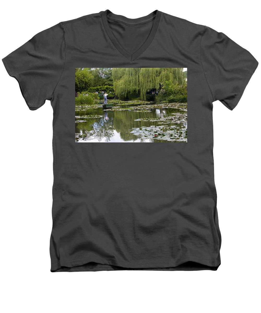Monet Gardens Giverny France Water Lily Punt Boat Water Willows Men's V-Neck T-Shirt featuring the photograph Water Lily Garden Of Monet In Giverny by Avalon Fine Art Photography