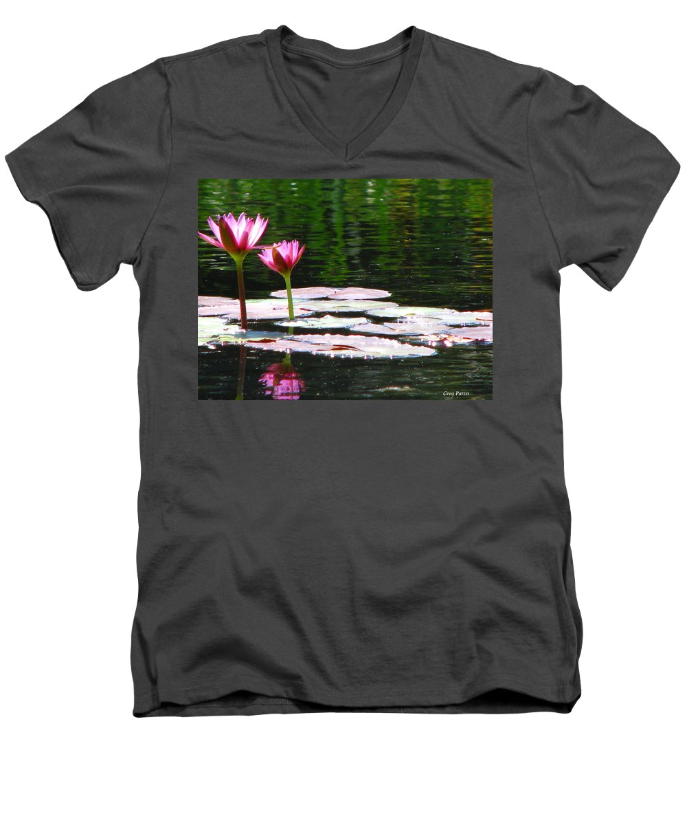 Patzer Men's V-Neck T-Shirt featuring the photograph Water Lily by Greg Patzer