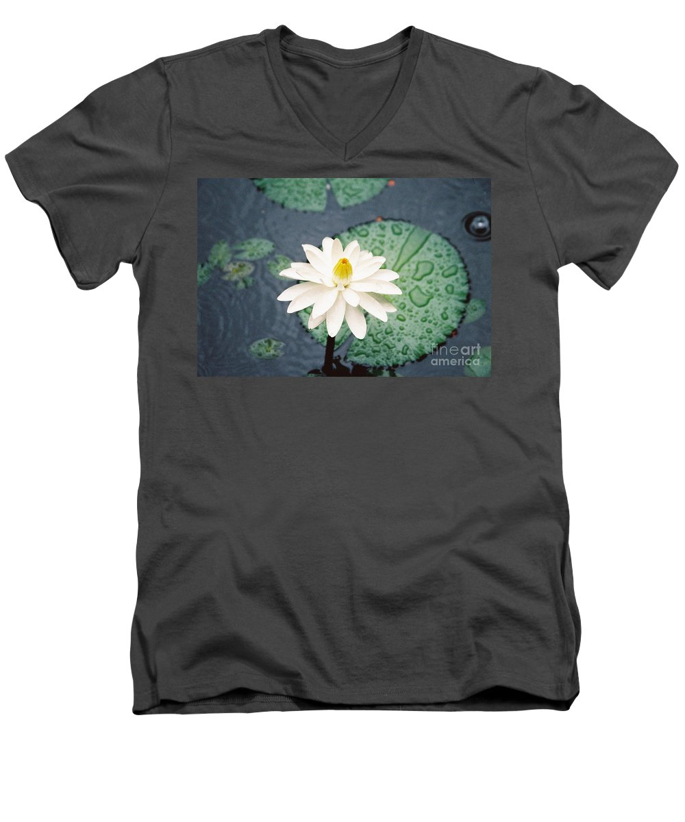 Flowers Men's V-Neck T-Shirt featuring the photograph Water Lily by Kathy McClure