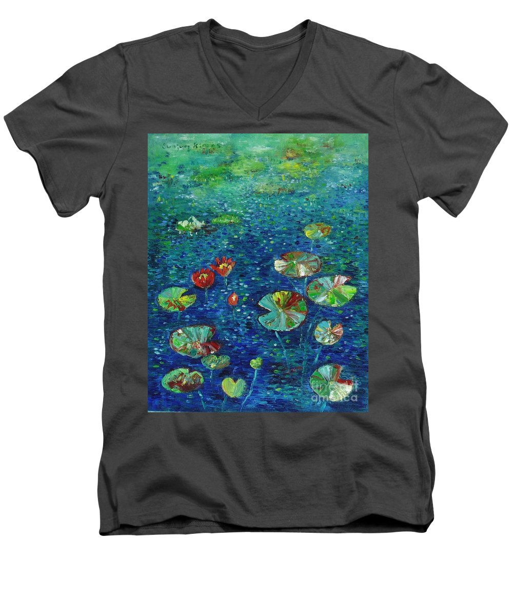 Lotus Paintings Men's V-Neck T-Shirt featuring the painting Water Lily Lotus Lily Pads Paintings by Seon-Jeong Kim