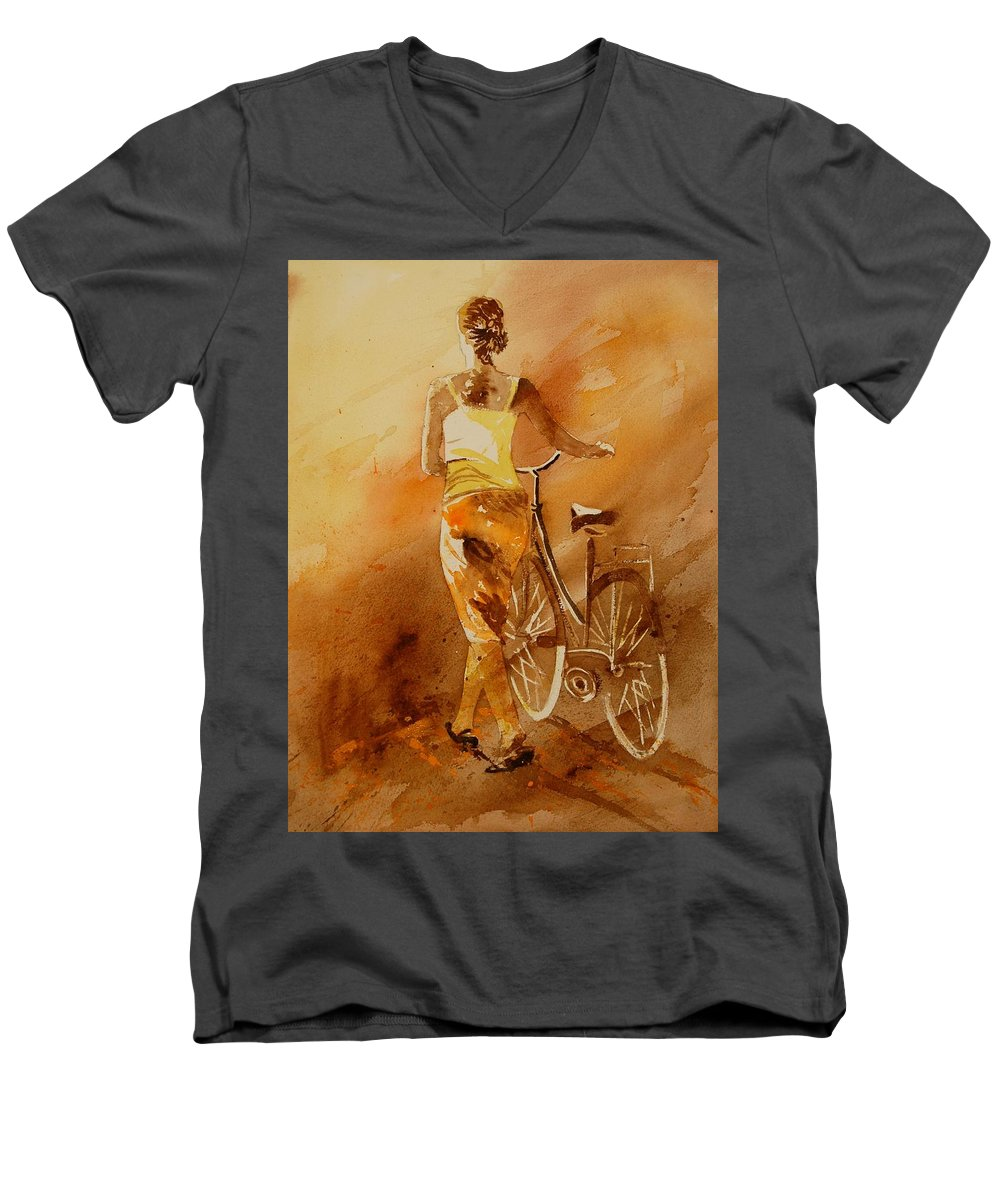 Figurative Men's V-Neck T-Shirt featuring the painting Watercolor With My Bike by Pol Ledent