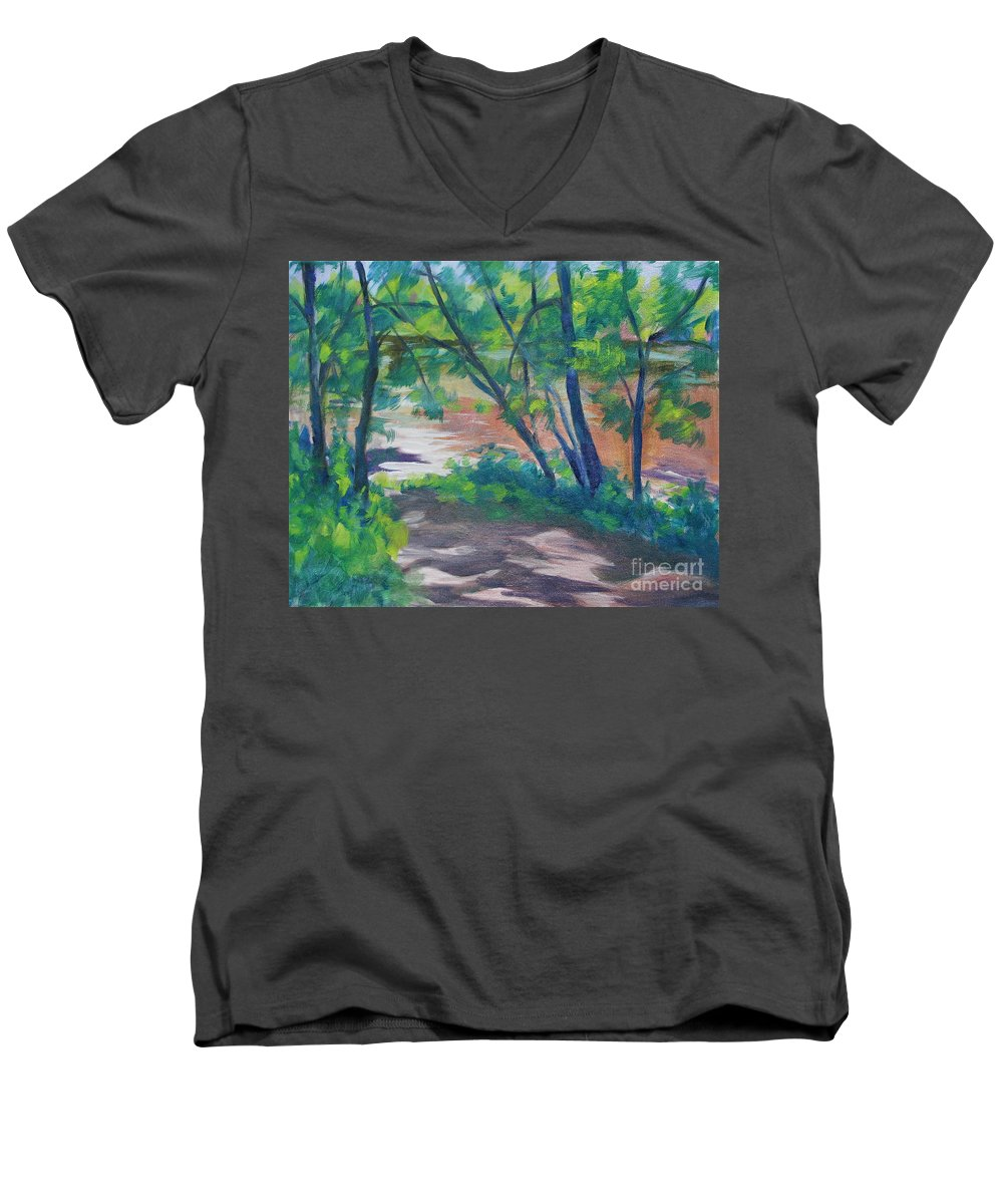 Landscape Men's V-Neck T-Shirt featuring the painting Watercress Beach On The Current River  by Jan Bennicoff