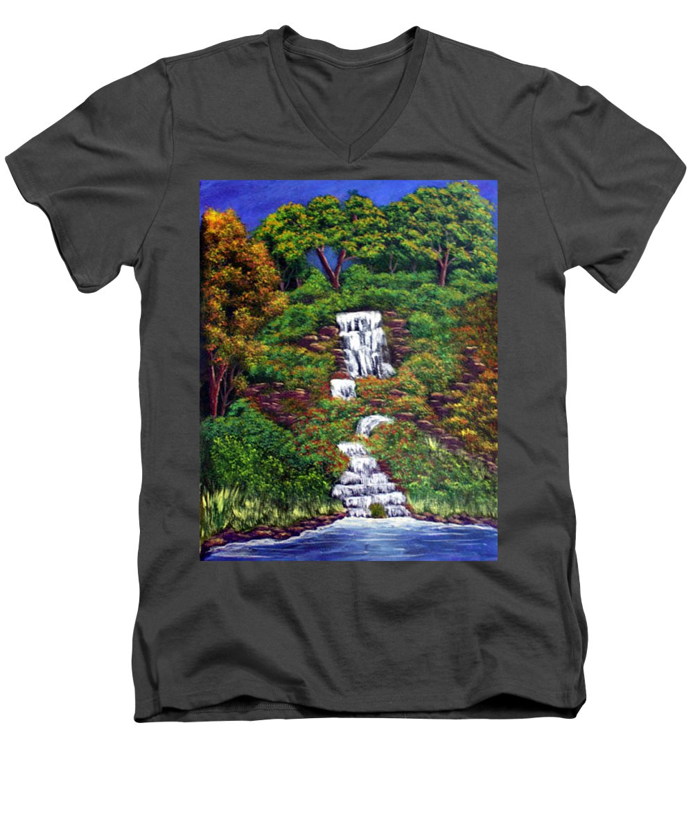 Waterfall Men's V-Neck T-Shirt featuring the painting Waterfall by Dawn Blair