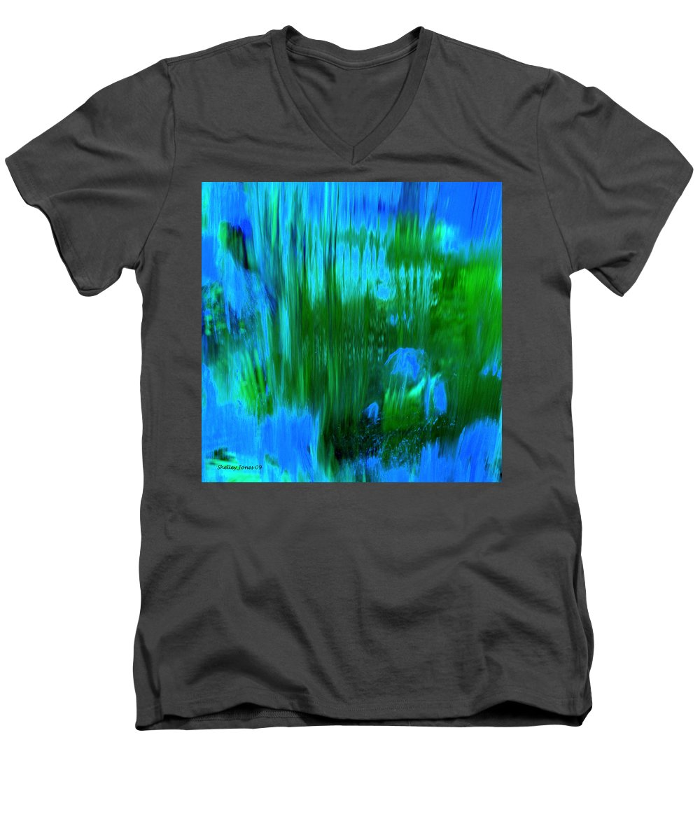 Digital Art Men's V-Neck T-Shirt featuring the digital art Waterfall by Shelley Jones