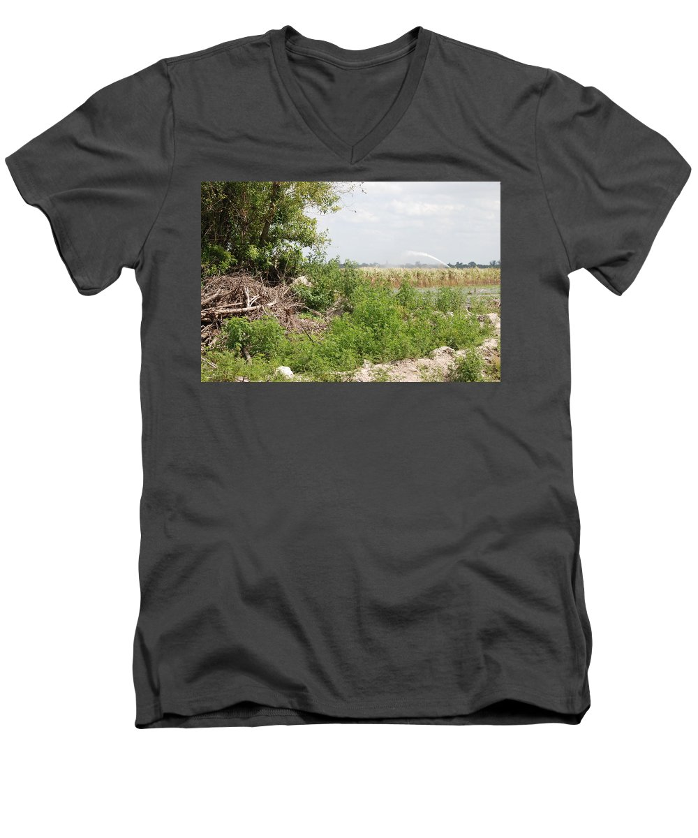Leaves Men's V-Neck T-Shirt featuring the photograph Watering The Weeds by Rob Hans
