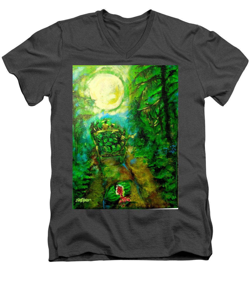 Watermelon Wagon Moon Men's V-Neck T-Shirt featuring the painting Watermelon Wagon Moon by Seth Weaver