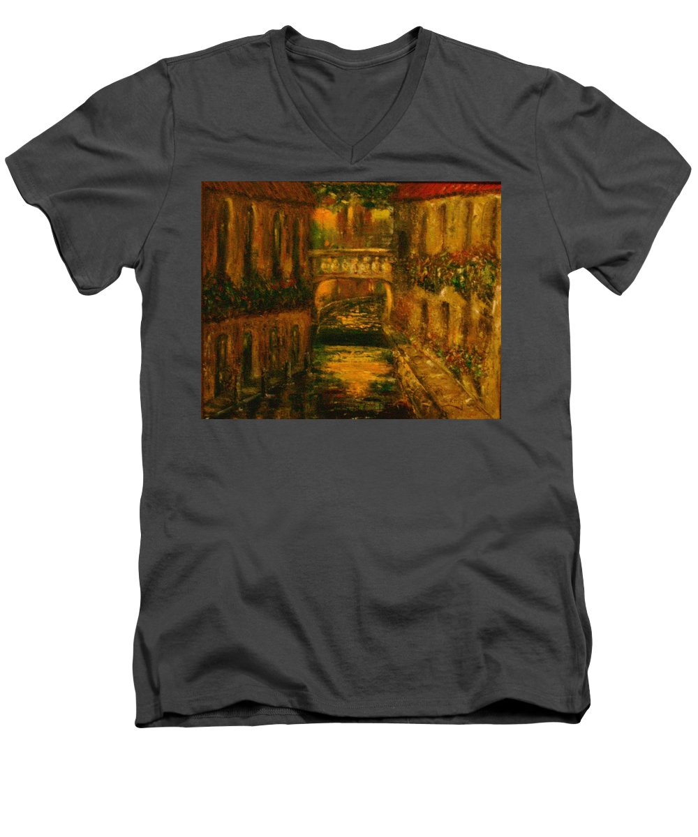 Landscape Men's V-Neck T-Shirt featuring the painting Waters Of Europe by Stephen King