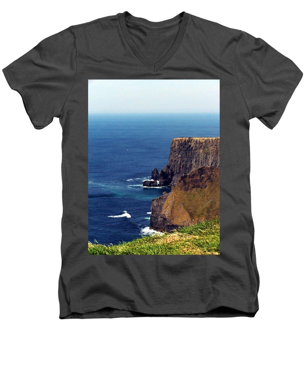 Irish Men's V-Neck T-Shirt featuring the photograph Waves Crashing At Cliffs Of Moher Ireland by Teresa Mucha