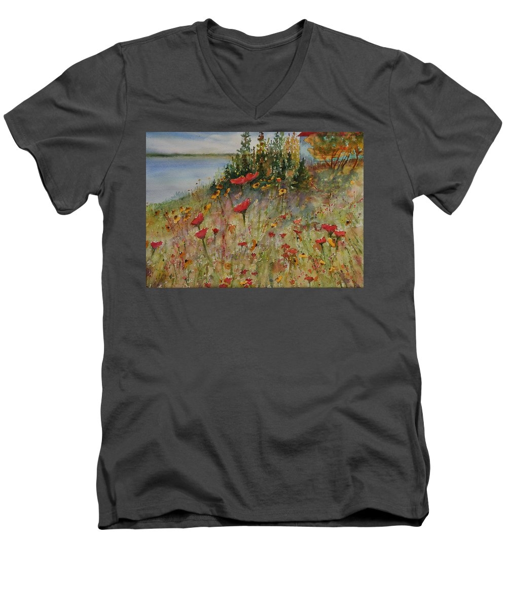 Nature Men's V-Neck T-Shirt featuring the painting Wendy's Wildflowers by Ruth Kamenev