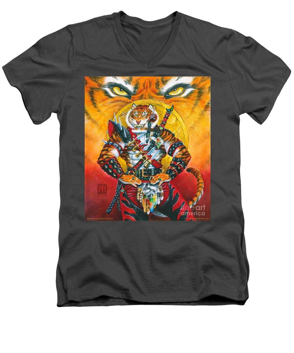 Fantasy Men's V-Neck T-Shirt featuring the painting Werecat Warrior by Melissa A Benson