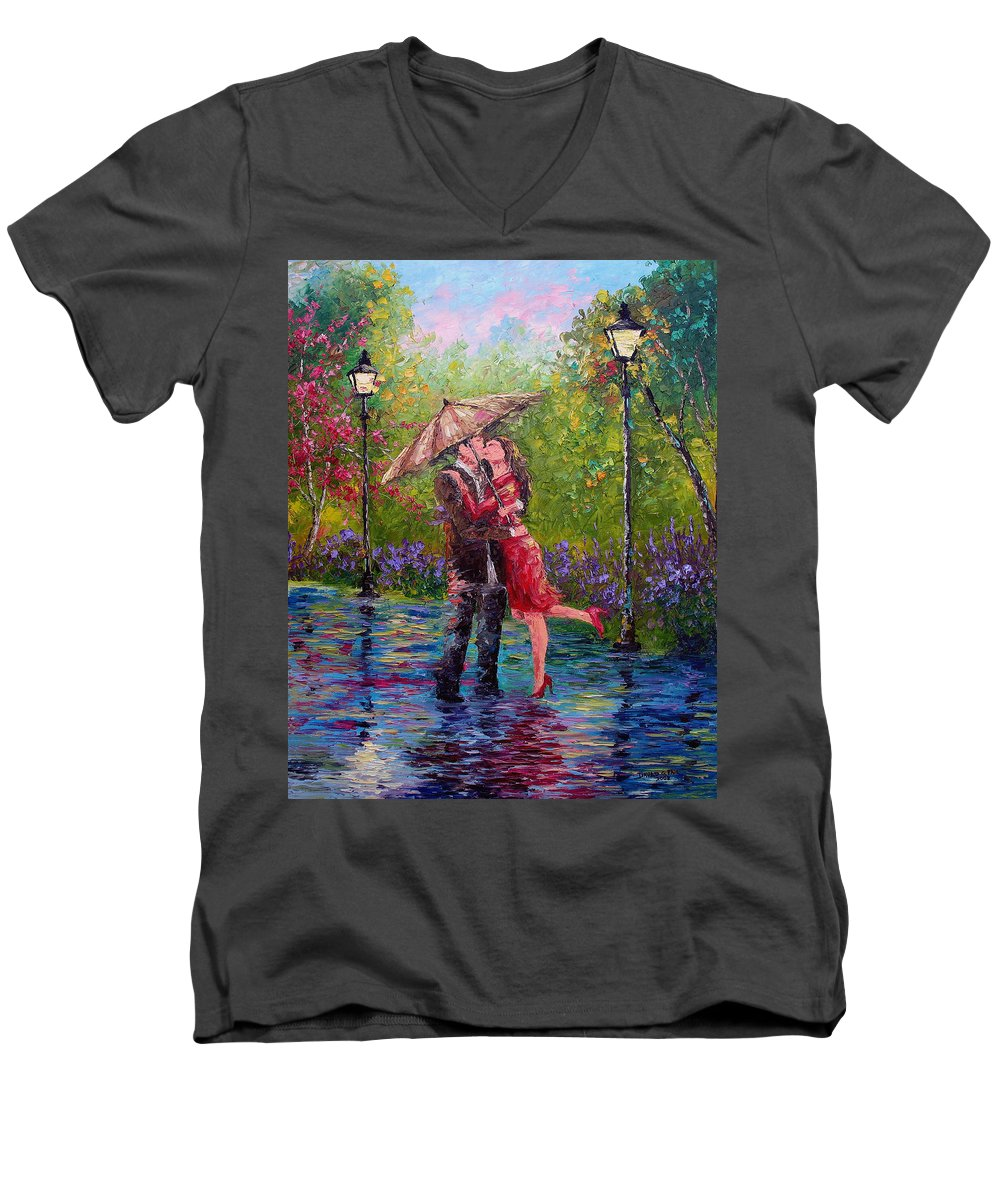 Kiss Men's V-Neck T-Shirt featuring the painting Wet Kiss by David G Paul