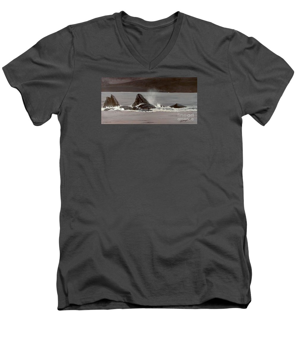 Whale Men's V-Neck T-Shirt featuring the painting Whales Feeding by Shawn Stallings