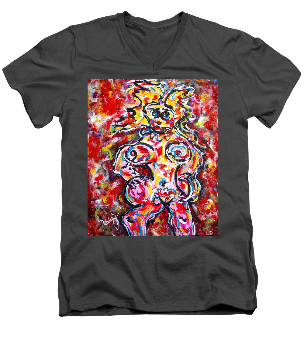 Abstracts Men's V-Neck T-Shirt featuring the painting What Are You Looking At by Natalie Holland