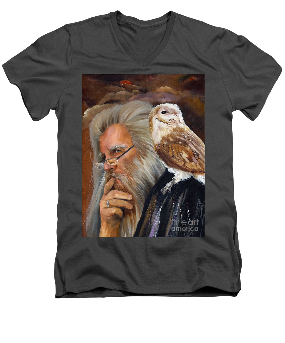 Wizard Men's V-Neck T-Shirt featuring the painting What If... by J W Baker