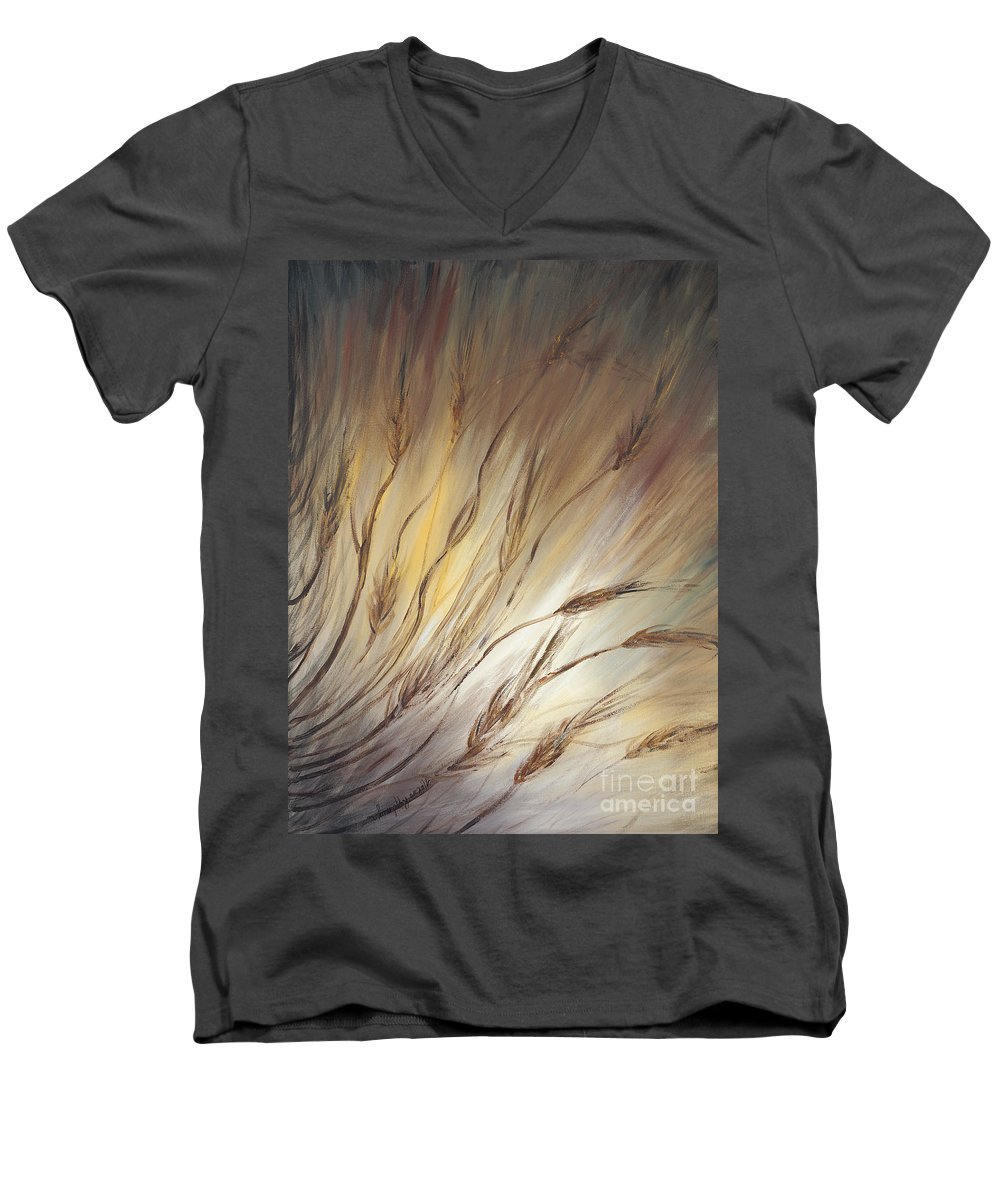 Wheat Men's V-Neck T-Shirt featuring the painting Wheat In The Wind by Nadine Rippelmeyer