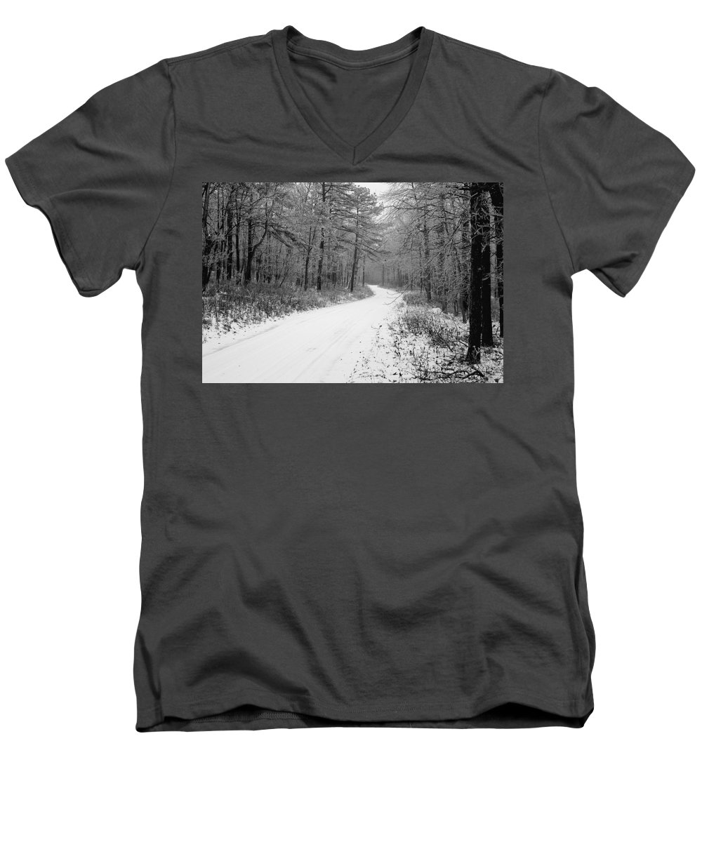 Winter Men's V-Neck T-Shirt featuring the photograph Where Will It Lead by Jean Macaluso