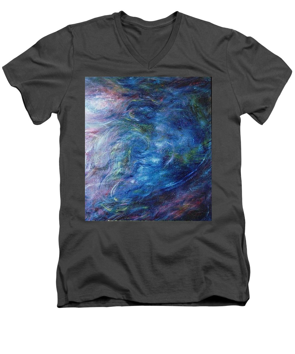 Abstract Men's V-Neck T-Shirt featuring the painting Whispers In A Sea Of Blue by Nancy Mueller