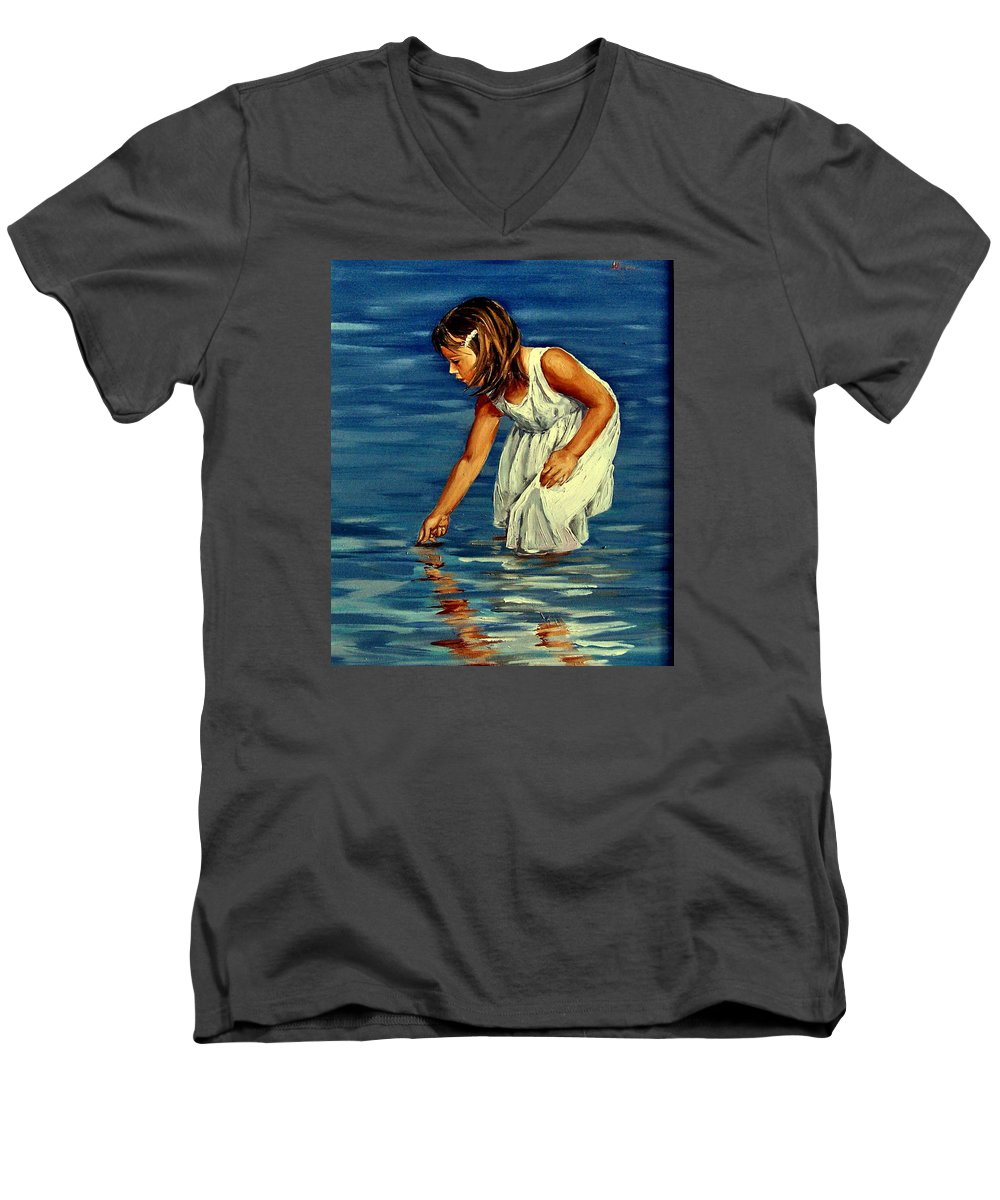 Girl Men's V-Neck T-Shirt featuring the painting White Dress by Natalia Tejera
