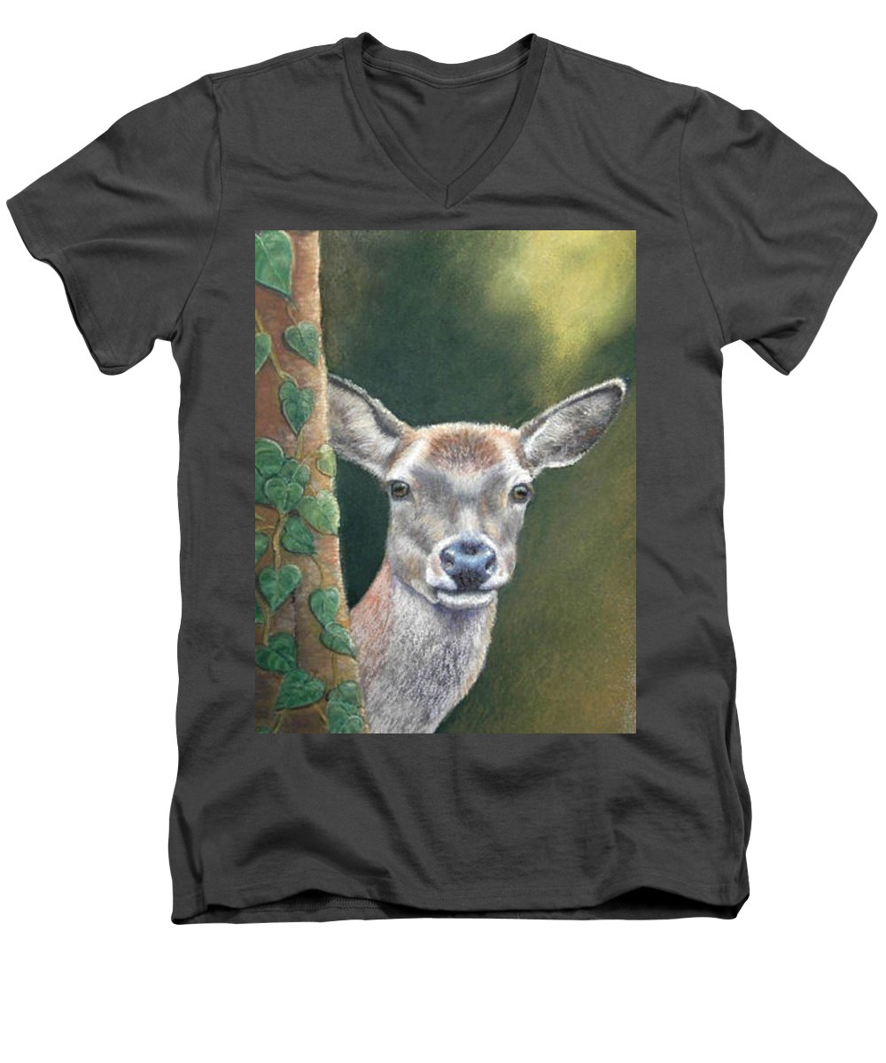 Rainforest Men's V-Neck T-Shirt featuring the painting White Tail Doe At Ancon Hill by Ceci Watson