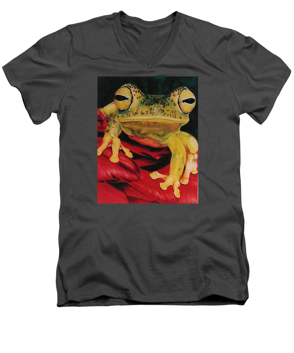Art Men's V-Neck T-Shirt featuring the drawing Who Loves Ya by Barbara Keith