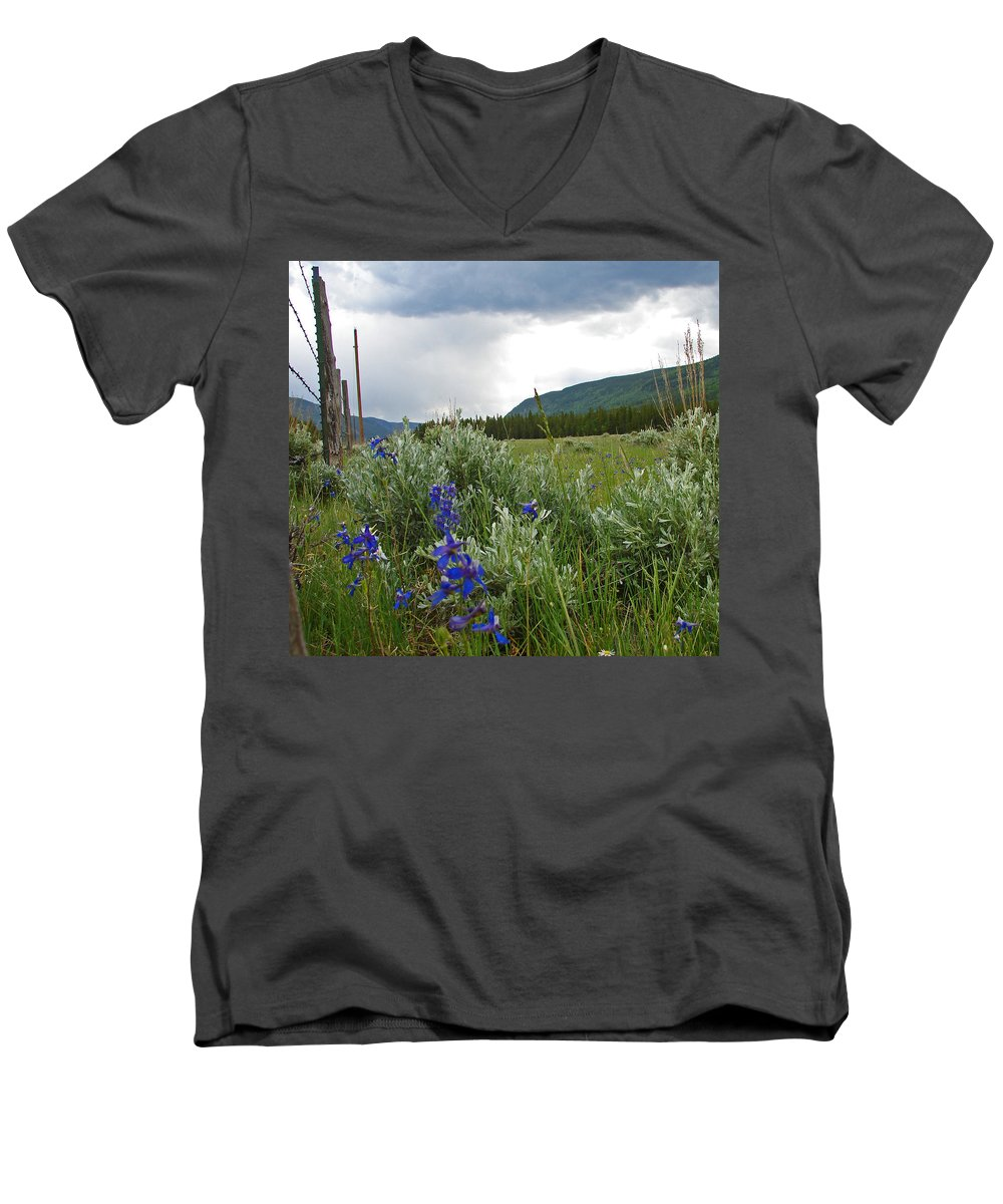 Wild Flowers Men's V-Neck T-Shirt featuring the photograph Wild Delphinium by Heather Coen