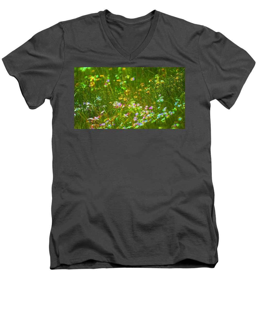 Wildflower Men's V-Neck T-Shirt featuring the photograph Wildflower Field by Heather Coen