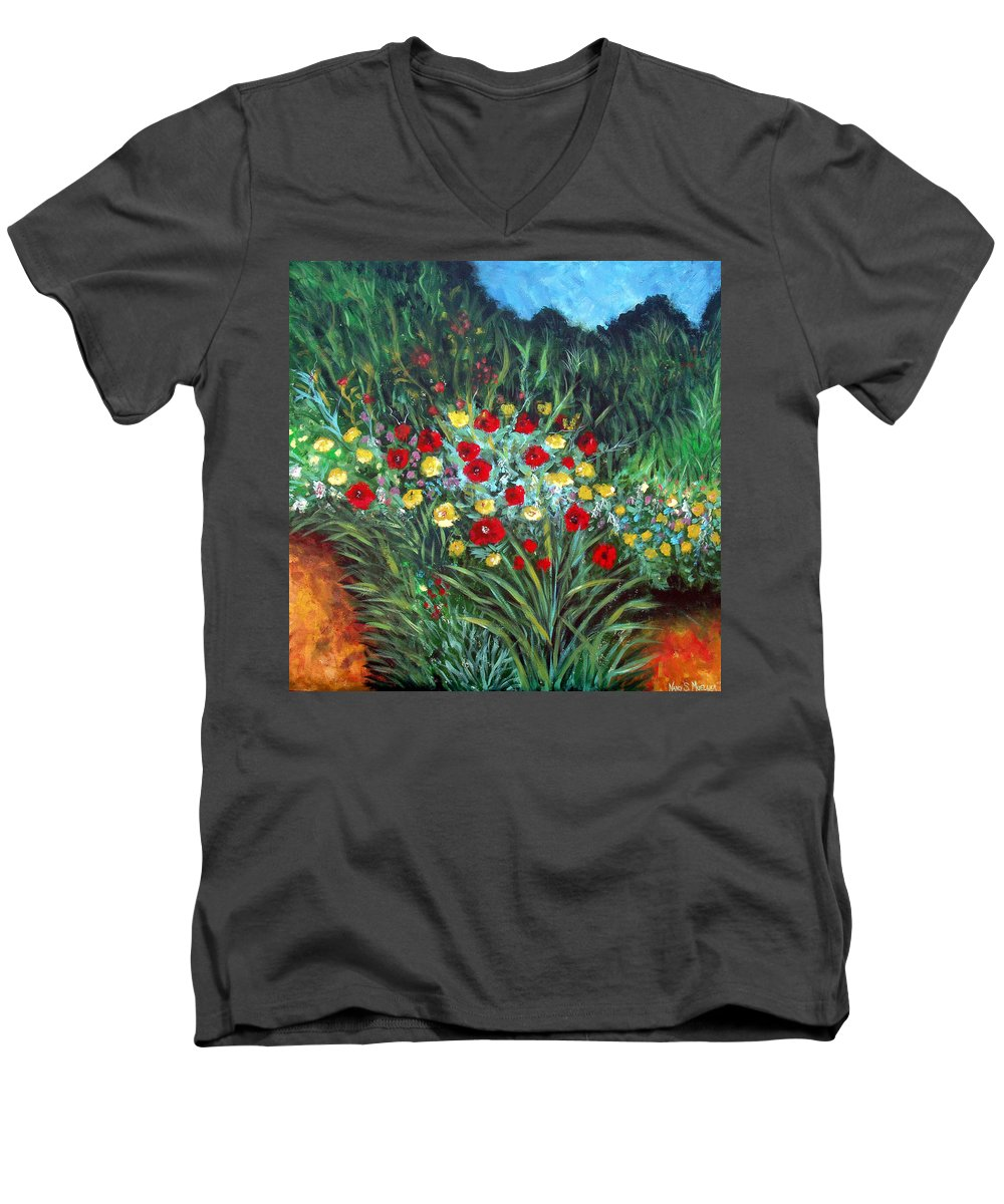 Abstract Men's V-Neck T-Shirt featuring the painting Wildflower Garden 1 by Nancy Mueller