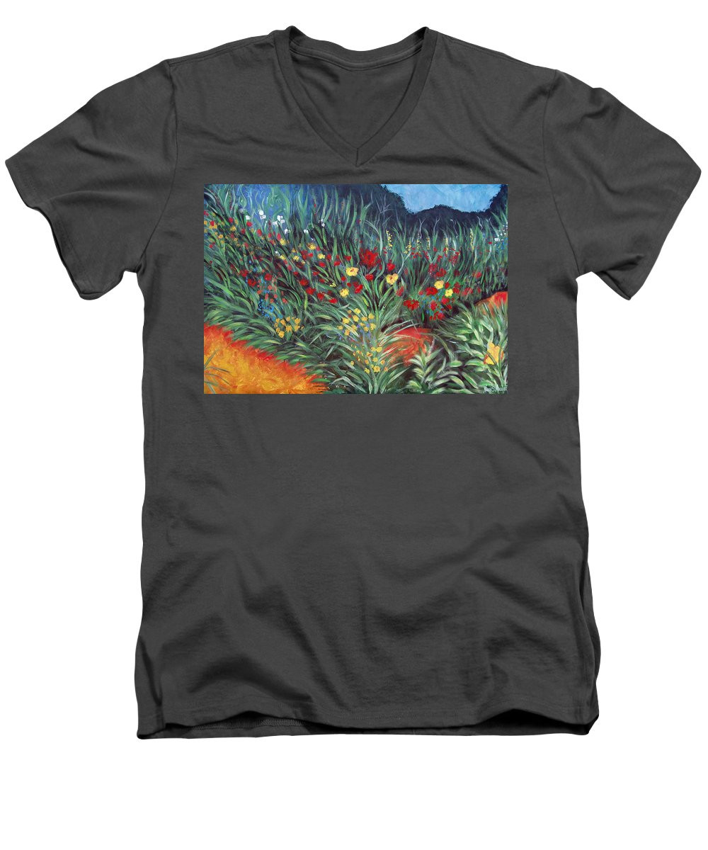 Landscape Men's V-Neck T-Shirt featuring the painting Wildflower Garden 2 by Nancy Mueller