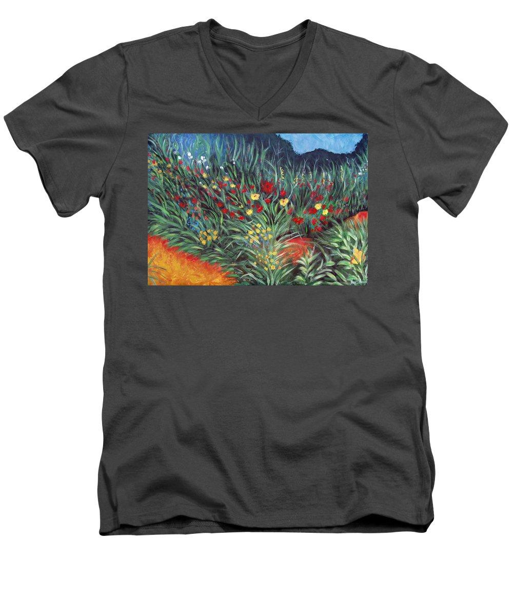 Landscape Men's V-Neck T-Shirt featuring the painting Wildflower Garden 2 by Nancy Mueller