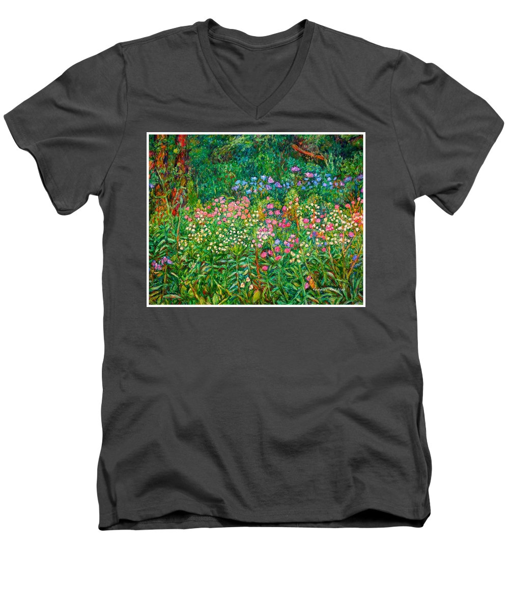 Floral Men's V-Neck T-Shirt featuring the painting Wildflowers Near Fancy Gap by Kendall Kessler