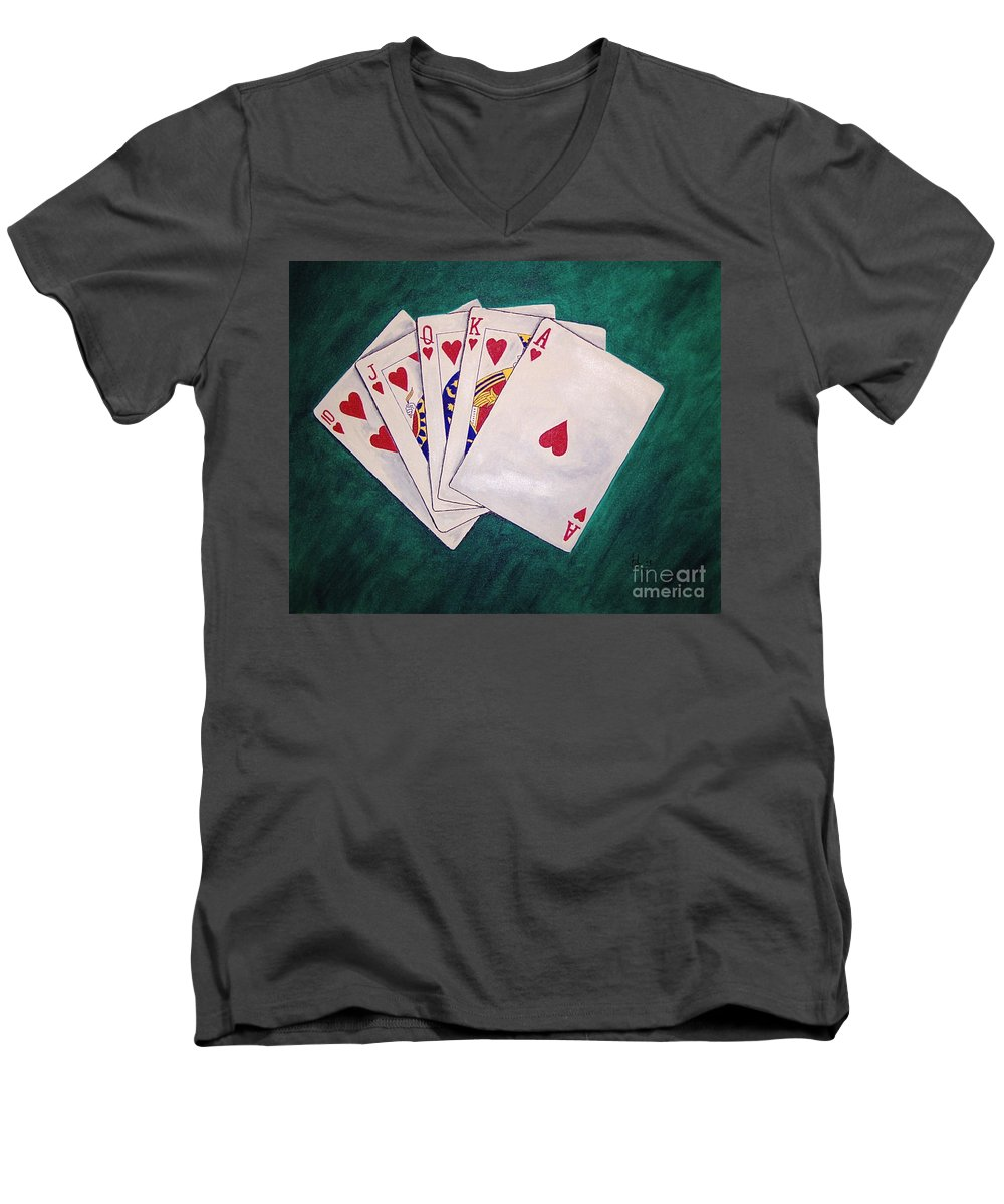 Playing Cards Wining Hand Role Flush Men's V-Neck T-Shirt featuring the painting Wining Hand 2 by Herschel Fall