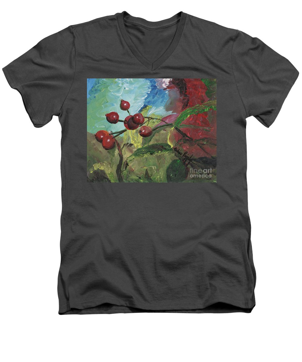 Berries Men's V-Neck T-Shirt featuring the painting Winter Berries by Nadine Rippelmeyer