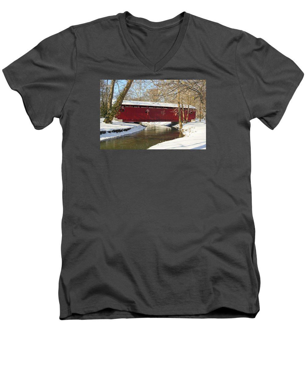 Covered Bridge Men's V-Neck T-Shirt featuring the photograph Winter Bridge by Margie Wildblood