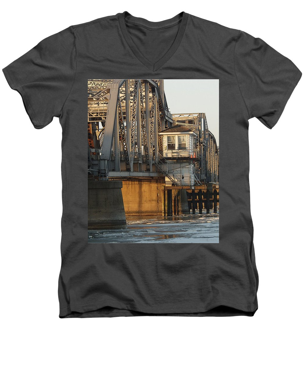 Bridge Men's V-Neck T-Shirt featuring the photograph Winter Bridgehouse by Tim Nyberg